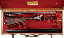 SCARCE W. J. JEFFERY 16 GAUGE SIDELOCK EJECTOR GAME SHOTGUN WITH TWO SETS OF BARRELS AND OAK AND LEATHER CASE.