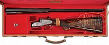 FIRST TIER QUALITY SIDELOCK EJECTOR SINGLE TRIGGER OVER-UNDER GAME GUN BY RENATO TELO WITH TASTEFUL FLORAL ENGRAVING BY GIANFRANCO PEDERSOLI INCLUDES CASE.
