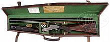 EXCEEDINGLY RARE, HENRY ATKIN WOODWARD PATTERN, OVER-UNDER SIDELOCK EJECTOR GAME SHOTGUN WITH ORIGINAL CASE.