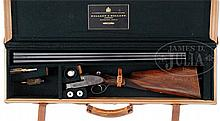 HOLLAND & HOLLAND ROYAL EJECTOR SINGLE TRIGGER GAME SHOTGUN WITH CASE AND FACTORY WEAPON HISTORY.