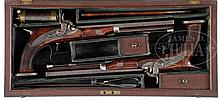 TRULY SUPERB, HIGH ORIGINAL CONDITION, PAIR OF SAW-HANDLED PERCUSSION DUELING/ TARGET PISTOLS BY RICHARD CONSTABLE OF PHILADELPHIA, WITH ORIGINAL CASE AND LABEL.