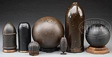 GROUP OF 7 SCARCE AND FINE CIVIL WAR ARTILLERY PROJECTILES.