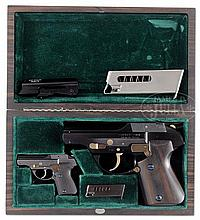 EXTRAORDINARY CASED SET OF TWO EXPERIMENTAL NORTON DP-75 PISTOLS.