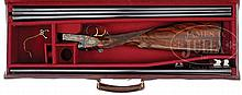 FINELY ENGRAVED AND RELIEF GOLD INLAID 20 GAUGE BOXLOCK EJECTOR SHOTGUN BY JOHN WILKES WITH EXTRA BARRELS AND CASE.