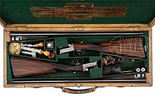 WELL MAINTAINED PAIR OF GOLD NAME WESTLEY RICHARDS HAND DETACHABLE (DROP LOCK) EJECTOR GAME SHOTGUNS WITH ORIGINAL CASE.