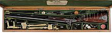 ABSOLUTELY WONDERFUL HIGH CONDITION GEORGE DAW FOUR BORE JACOB TYPE SINGLE PERCUSSION DANGEROUS GAME RIFLE WITH ORIGINAL CASE CONTAINING MOLDS AND OTHER ACCESSORIES.