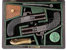 CASED PAIR OF PERCUSSION SCREW-BARREL TURNOVER OVER-UNDER POCKET PISTOLS MARKED H. NOCK.