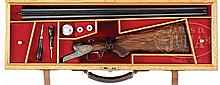 FINELY ENGRAVED WAFFEN - DSCHULNIGG SIDEPLATED BOXLOCK GAME SHOTGUN WITH CASE.