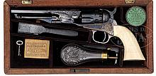 FABULOUS FACTORY ENGRAVED CASED COLT MODEL 1862 POLICE REVOLVER WITH ONE PIECE IVORY GRIP.
