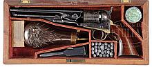 SUPERB COLT 1861 NAVY REVOLVER IN ORIG CASE WITH FULL ACCESSORIES.