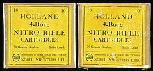 TWO BOXES OF KYNOCH FOUR BORE HOLLAND & HOLLAND RIFLE CARTRIDGES, ONE EMPTY, THE OTHER FULL.
