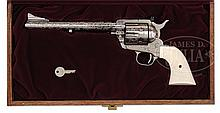 ELEGANT CASED MASTER ENGRAVED COLT NEW FRONTIER REVOLVER WITH NICKEL FINISH AND FACTORY LETTER.