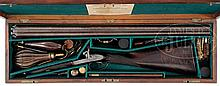PERCUSSION DOUBLE SHOTGUN BY THOMAS K. BAKER WITH CASE.