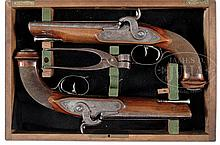 RARE PAIR OF CONTINENTAL DOUBLE BARREL HOWDAH PERCUSSION PISTOLS.