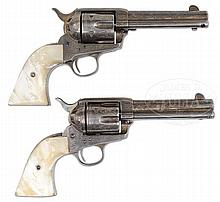 PAIR OF EXTRAORDINARILY RARE & DESIRABLE FULLY FACTORY LETTERED ENGRAVED & INSCRIBED SILVER PLATED COLT SINGLE ACTION ARMY REVOLVERS.