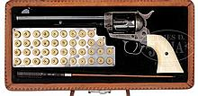 ELEGANT PRE-WAR COLT SINGLE ACTION ARMY REVOLVER EMBELLISHED WITH SILVER INLAYS AND HAND-TOOLED LEATHER CASE BY ED BOHLIN, WITH FACTORY LETTER.