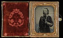 GENERAL GEORGE ARMSTRONG CUSTER, HALF-PLATE AMBROTYPE FROM LIFE, SEPTEMBER 1863, THE FINEST AND MOST ICONIC AND HISTORIC OF ALL CUSTER PHOTOGRAPHS.