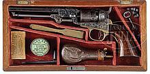 RARE FACTORY ENGRAVED CASED COLT MODEL 1849 POCKET PERCUSSION REVOLVER.