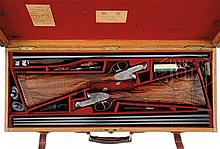 ANTIQUE PAIR OF JAMES PURDEY & SONS SELF-OPENING SIDELOCK EJECTOR GAME SHOTGUNS WITH ORIGINAL CASE AND ACCESSORIES AND FACTORY LETTER, ONE WITH NEW FACTORY BARRELS.