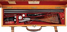 FINE PRE WWI PURDEY HAMMERLESS EJECTOR GAME SHOTGUN WITH ORIGINAL CASE AND ACCESSORIES.