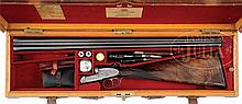 SCARCE 20 GAUGE JAMES PURDEY ROUND ACTION SIDELOCK EJECTOR LIGHTWEIGHT GAME SHOTGUN WITH OAK AND LEATHER CASE AND ACCESSORIES.