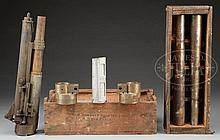 U.S. HOTCHKISS MODEL 1916 37 MM CANON PARTS INCLUDING MULTIPLE BARRELS AND BRONZE AND STEEL MECHANISM PARTS.