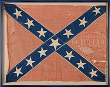 RARE CONFEDERATE BATTLE FLAG, FREEMAN'S TENNESSEE ARTILLERY, NEW TO MARKET FROM DIRECT FAMILY DESCENT.