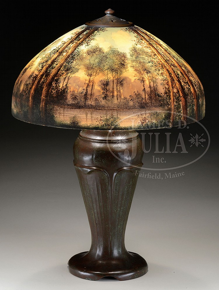 Handel Reverse And Obverse Painted Scenic Table Lamp