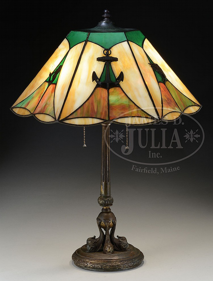 Sailboat Table Lamp : Leaded glass nautical table lamp