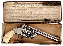 EXCEPTIONAL SMITH & WESSON .44 DOUBLE ACTION REVOLVER WITH FACTORY BOX AND IVORY GRIPS.