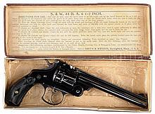 OUTSTANDING SMITH & WESSON 44 DOUBLE ACTION FRONTIER REVOLVER IN ORIG BOX.