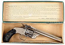 OUTSTANDING SMITH & WESSON NEW MODEL NUMBER 3 REVOLVER WITH FACTORY BOX AND TARGET SIGHTS.