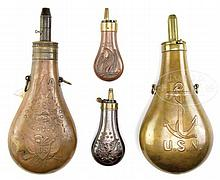 GROUP OF 4 FLASKS.