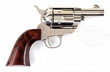 REPLICA OF COLT SINGLE ACTION ARMY SHERIFF'S MODEL REVOLVER WITH ONE-PIECE BURL GRIP.