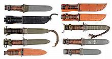 GROUP OF 10 EXTREMELY FINE WWII MILITARY KNIVES.
