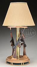 EXCEEDINGLY ATTRACTIVE TABLE LAMP WITH DETACHABLE MINIATURE NON-FIRING THOMPSON MACHINE GUNS.