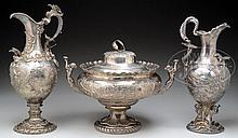 SPECTACULAR SET OF REPOUSSÉ AND ENGRAVED STERLING SILVER