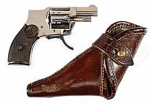SEDGLEY BABY HAMMERLESS EJECTOR MODEL 1930 .22S REVOLVER WITH LEATHER HOLSTER.