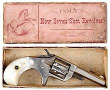 COLT 1ST MODEL NEW LINE REVOLVER WITH PEARL GRIPS AND PERIOD BOX.