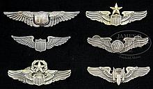 FINE AND RARE GROUP OF WWI AND WWII AIR CORPS STERLING WINGS.