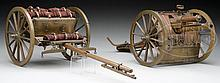 1/8 SCALE ALL BRASS WORKING MODEL OF THE BRITISH WWI 18-POUNDER RECOILLESS CANNON AND CAISSON.