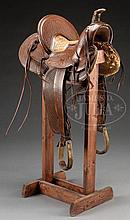 OREGON ROPING SADDLE MADE BY VICTOR MARDEN, THE DALLES, OREGON.