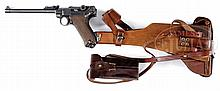 DESIRABLE DWM 1914 ARTILLERY LUGER MACHINE GUN COMPANY MARKED 9MM PISTOL WITH STOCK AND HOLSTER.
