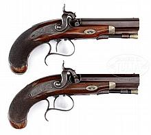 FINE CONDITION HIGH QUALITY PAIR OF AMERICAN PERCUSSION POCKET PISTOLS BY V. LIBEAU OF NEW ORLEANS.