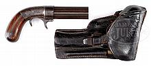 BACON SINGLE ACTION UNDERHAMMER PEPPERBOX WITH PERIOD HOLSTER.