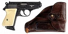STUNNING ENGRAVED WALTHER PPK PISTOL WITH NSDAP EAGLE AND PERIOD HOLSTER.