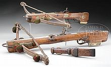 TWO GOOD 18TH CENTURY SAXON SPORTING CROSSBOWS WITH ORIGINAL GOAT'S FOOT LEVER DATED 1703(?).
