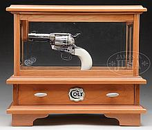 EXTRAORDINARY FACTORY ENGRAVED COLT SINGLE ACTION ARMY REVOLVER WITH EXTRA CYLINDER, WOOD DISPLAY CASE AND FACTORY LETTER.