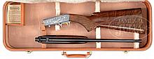 GORGEOUS BROWNING SEMI AUTO 22 GRADE 3 ENGRAVED BY ANGELO BEE WITH CASE.
