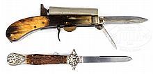UNWIN & ROGERS KNIFE/PISTOL AND SHEFFIELD CIVIL WAR ERA FOLDING KNIFE.